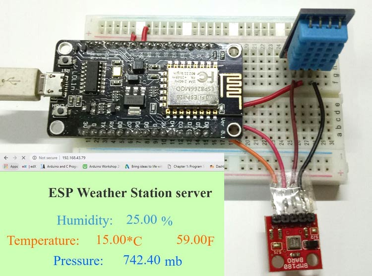 IoT Weather Station using NodeMCU: Monitoring Humidity, Temperature and Pressure over Internet