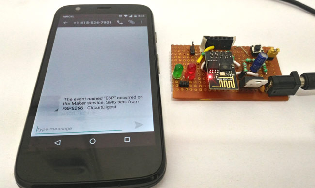 Sending Text Message (SMS) using ESP8266 and Arduino IDE