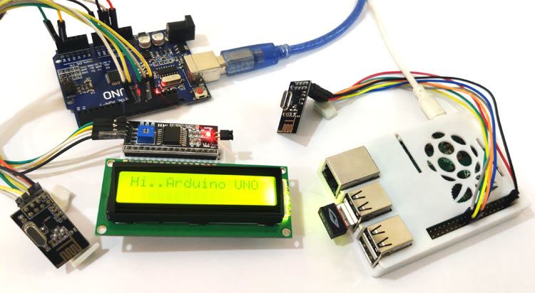 Wireless RF Communication between Raspberry Pi and Arduino UNO using nRF24L01 Module