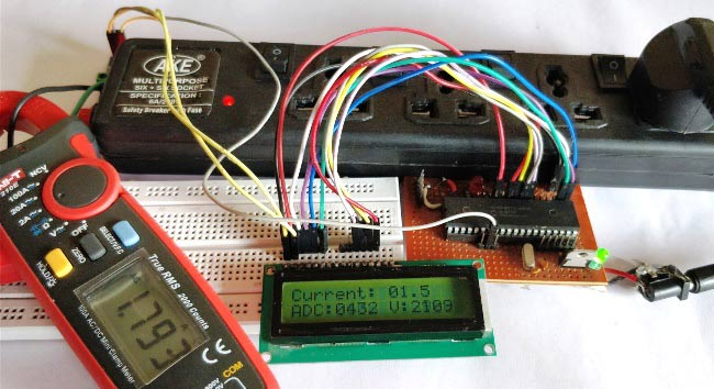 Digital Ammeter Circuit using PIC Microcontroller and ACS712 on