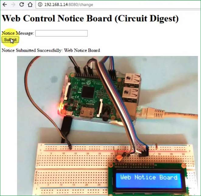 Web Controlled IoT Notice Board using Raspberry Pi: Project
