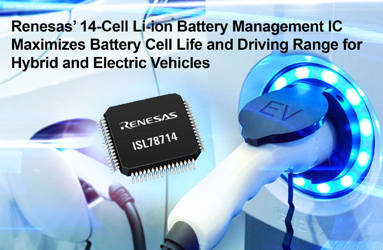 14-Cell Li-ion Battery Management IC Maximizes Battery Cell Life and Driving Range for Hybrid and Electric Vehicles