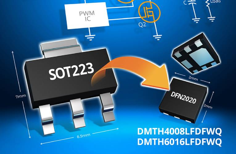 DMTH4008LFDFWQ and DMTH6016LFDFWQ Automotive-compliant MOSFETs