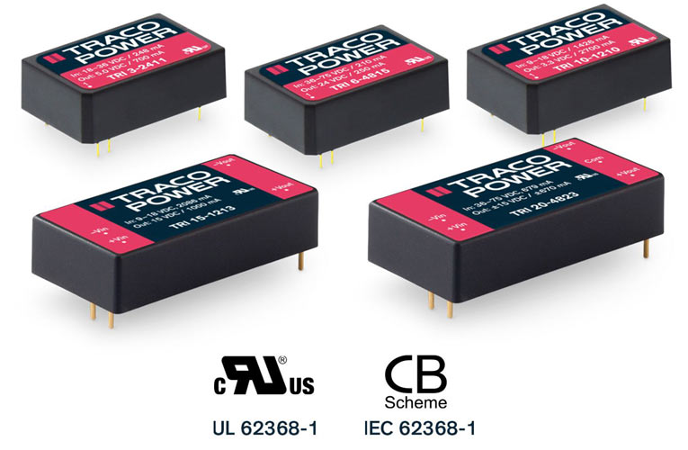 High-isolation 3-20 Watt DC/DC converters with 1000 VACrms Working Voltage