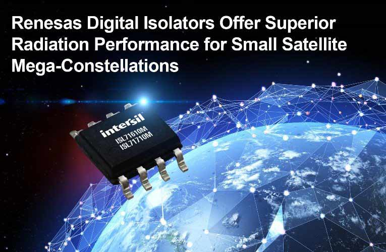 Renesas digital isolator ICs ISL71610M and ISL7170M for small satellites