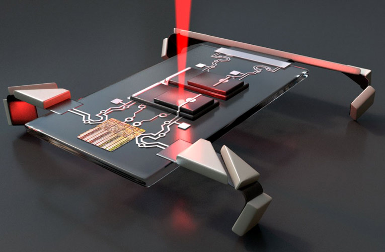 Laser Controlled Microscopic Walking Robot