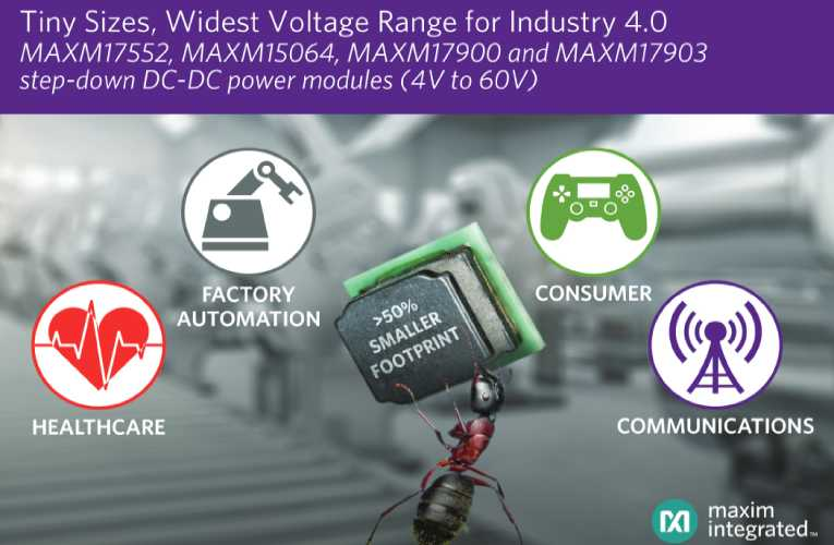 Ultra-small DC-DC power modules provide 4 to 60V for industrial and consumer applications
