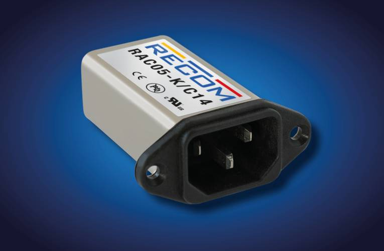 AC/DC power supply in IEC mains filter housing