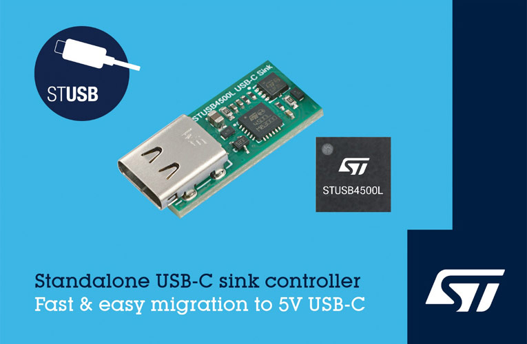 STUSB4500L - Standalone VBUS Powered Controller for 5V USB-C Charging Applications