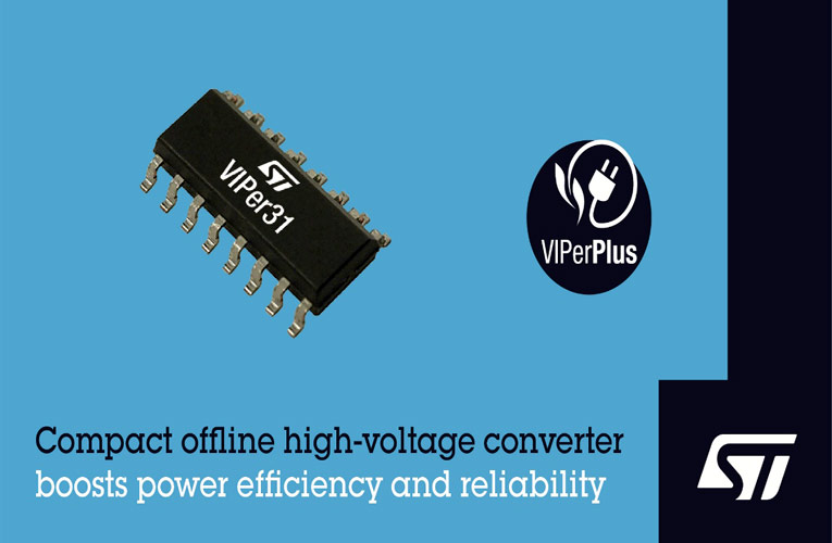 VIPer31 Compact High-Voltage Converter IC from STMicroelectronics