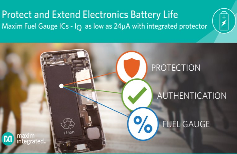 Maxim Integrates the Most Advanced Battery Protector to Deliver the Highest Level of Safety in Industry's Most Accurate, Lowest Quiescent Current Fuel Gauge ICs