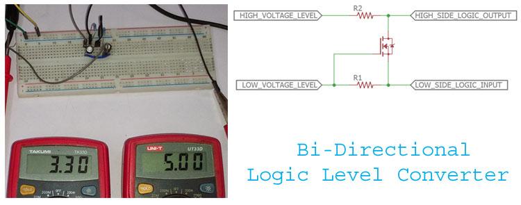 Bi-Directional Logic Level converter using MOSFET