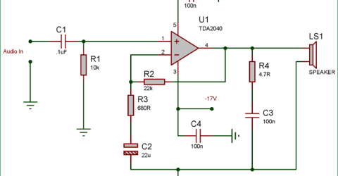 25 Watt Audio Amplifier Circuit using TDA2040