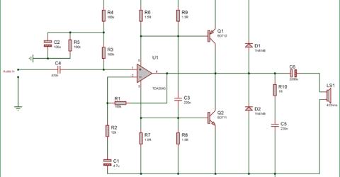 40 Watt Audio Amplifier using TDA2040 and Transistor Pair