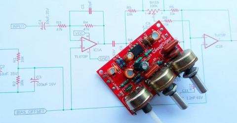 Audio Equalizer or Tone Control Circuit with Bass, Treble and MID frequency Control using Op-Amp