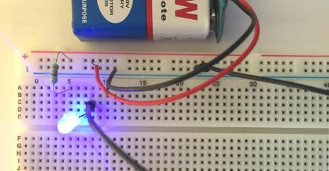 Simple LED Circuit on Breadboard