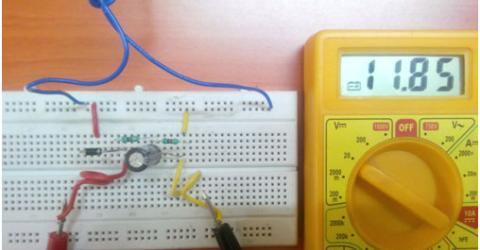 Half Wave Rectifier Circuit on Breadboard