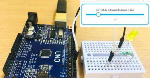 Arduino Node.js Tutorial: Controlling Brightness of LED through Web Interface