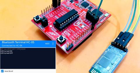 Interfacing HC-05 Bluetooth Module with MSP430 Launchpad to Control an LED