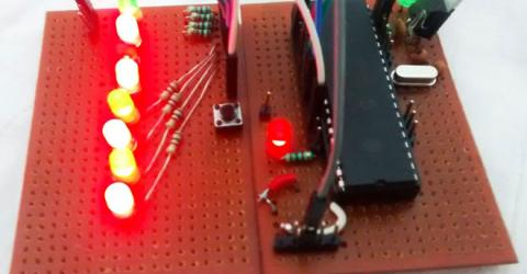 LED Blinking Sequence using PIC Microcontroller (PIC16F877A)