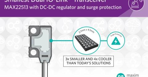 Smallest, Most Power-Efficient Dual IO-Link Transceiver with DC-DC Regulator and Surge Protection
