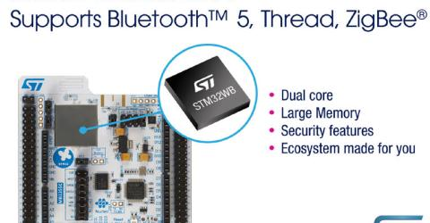 New Dual-Core Wireless MCUs STM32WB launched with Ultra-Low-Power Real-Time Performance