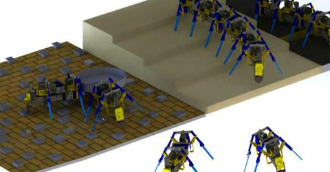 Four-Legged Swarm Robots Built Using 3D Printer