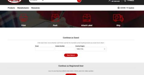 Updated Version of Digi-Key Electronics Online Returns and Order Issues Portal