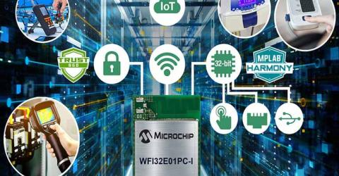 WFI32E01PC 32-bit Wi-Fi Microcontroller Module from Microchip