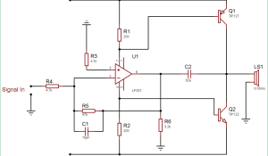 10 Watt Audio Amplifier Circuit using Op-Amp and Power Transistors
