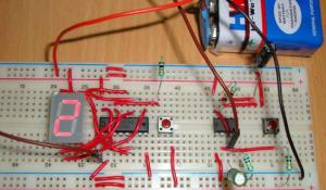 7 Segment Display Counter using IC 555 Timer IC