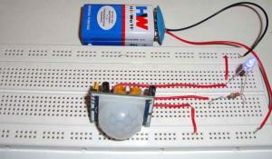 PIR Motion Detector/Sensor Circuit Diagram