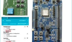 Nordic nRF52 Development Kit Measuring Temperature and Humidity using Bluetooth Low Energy