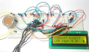 Light Intensity Measurement using LDR and ATmega8 Microcontroller