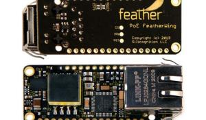 Ethernet FeatherWing with 4 W of PoE power